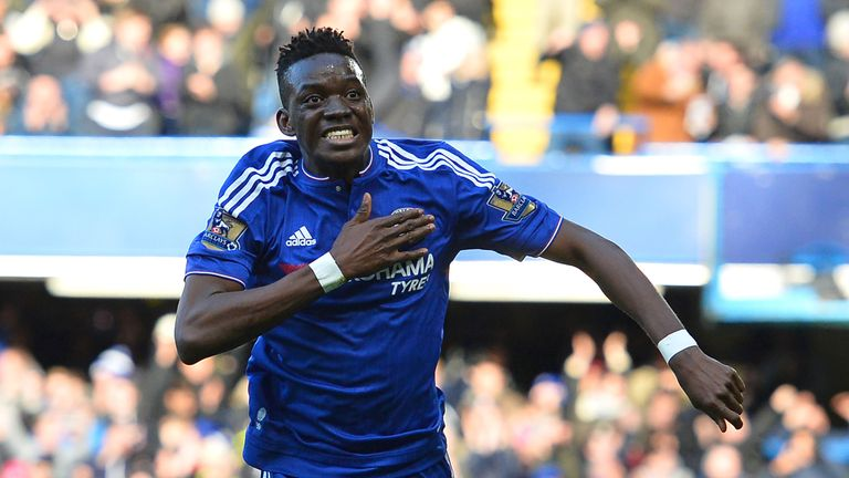 Bertrand Traore celebrates scoring Chelsea's first at Stamford Bridge