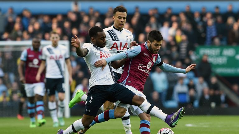 Carles Gil of Villa battles with Tottenham's Danny Rose