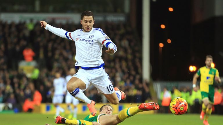 Eden Hazard is tackled at Carrow Road