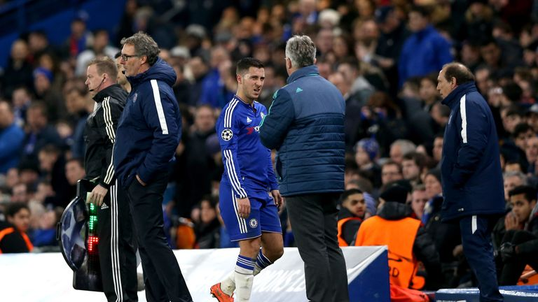 Eden Hazard came off injured during Chelsea's Champions League defeat to PSG