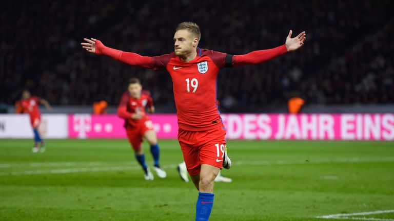 Jamie Vardy celebrates scoring his team's second goal against Germany