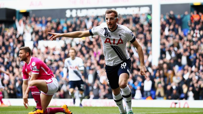 Harry Kane celebrates his goal in the opening minute