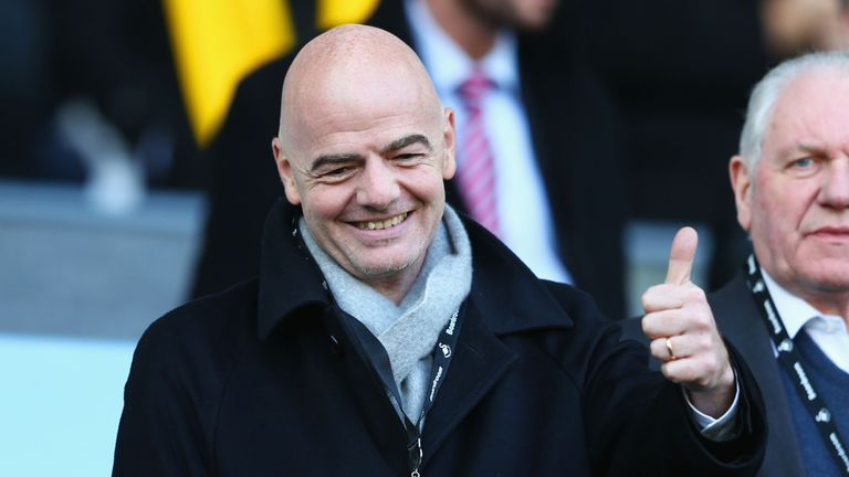 New FIFA President Gianni Infantino was in the crowd at the Liberty Stadium