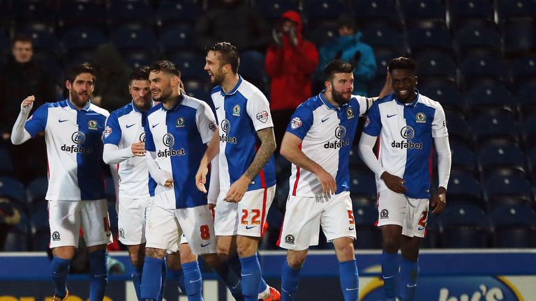 Blackburn Rovers' Hope Akpan celebrates scoring Blackburn's opener