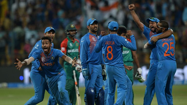 India celebrate a sensational comeback win against Bangladesh in the 2016 World T20