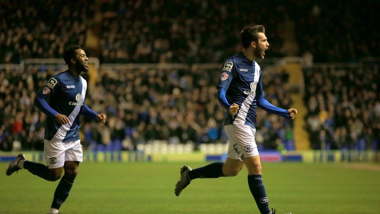 Birmingham City's Jon Toral celebrates scoring his side's winner
