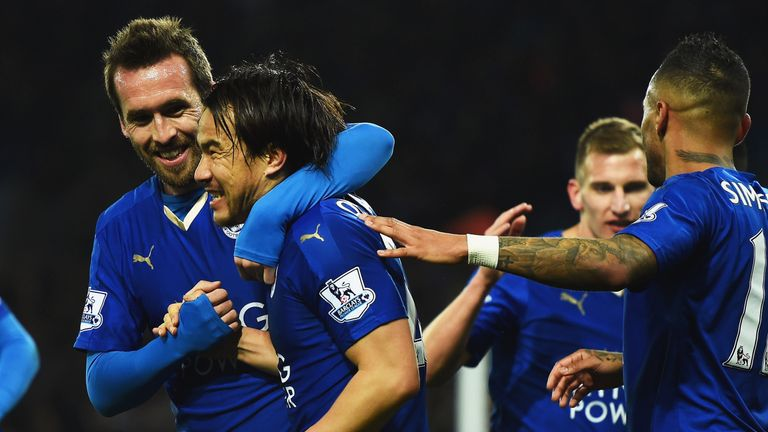 Okazaki celebrates the only goal of the game at the King Power Stadium