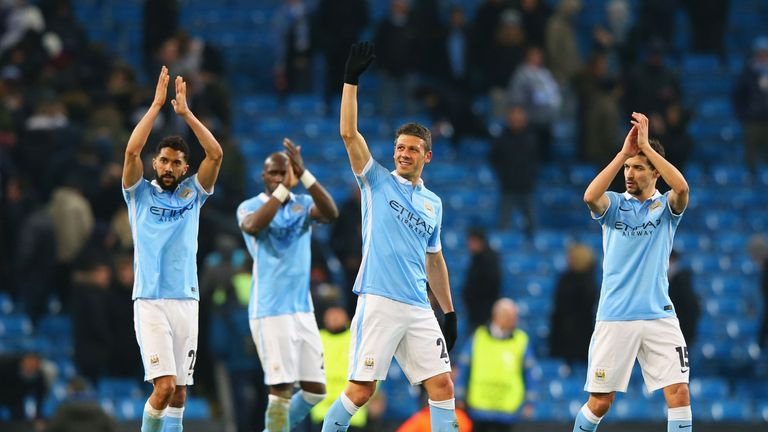 Manchester City players celebrate after sealing a 3-1 aggregate win over Dynamo Kiev