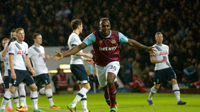 Michail Antonio celebrates after scoring West Ham's opening goal against Tottenham