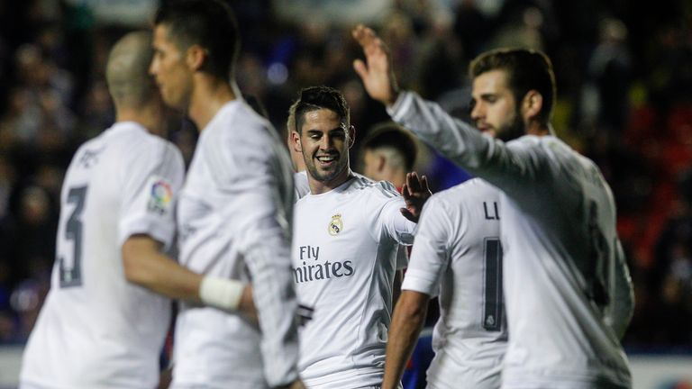 Isco celebrates his goal at the Ciutat de Valencia