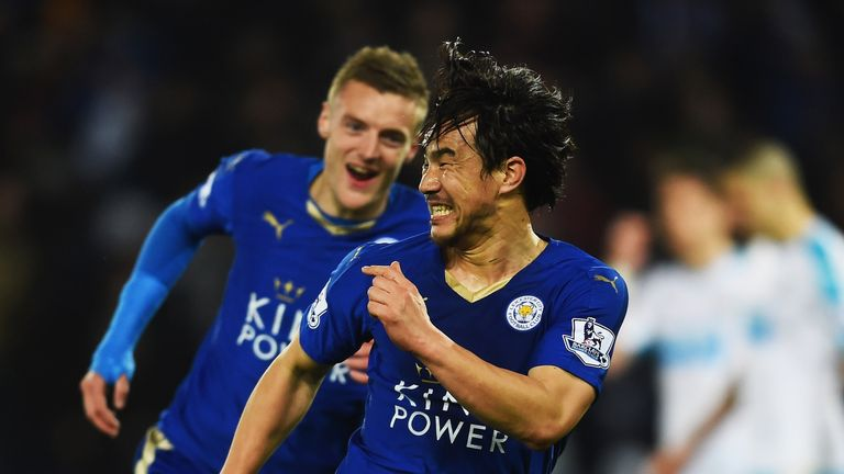 Shinji Okazaki celebrates after putting Leicester ahead
