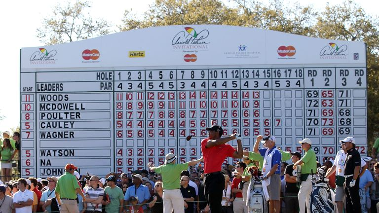 Woods finished five clear of Graeme McDowell when he won the title in 2012