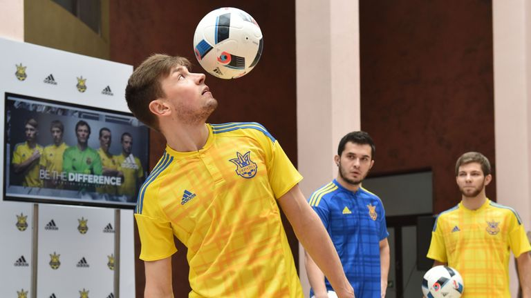 The Ukraine players showed off their new kit at a press event