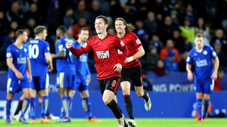 West Brom's Craig Gardner celebrates after making it 2-2 against Leicester