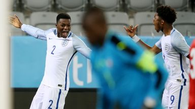 Chuba Akpom celebrates scoring the opener with team-mate Dominic Iorfa