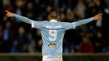 Celta Vigo's forward Iago Aspas celebrates after scoring