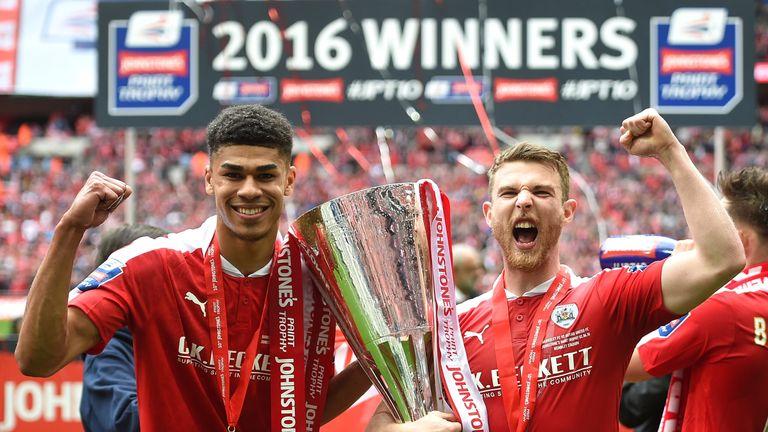 Barnsley celebrate winning last season's Johnstone's Paint Trophy
