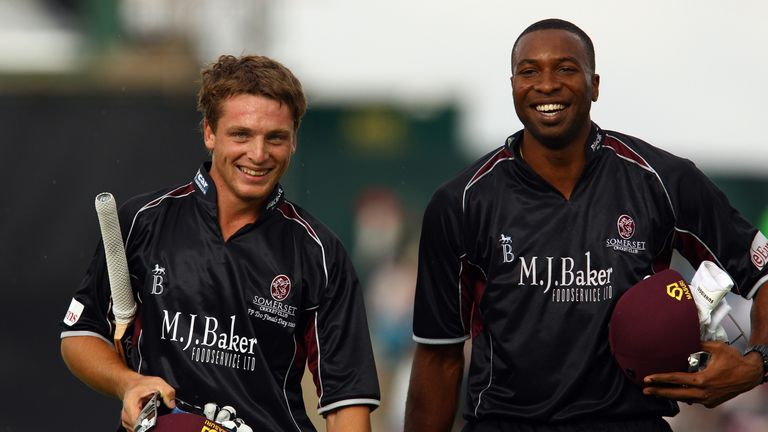 Buttler and Kieron Pollard walk off after a stand of 75 in the T20 semi-final in 2010 -  the pair now play together for Mumbai in the IPL