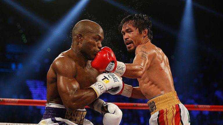 Manny Pacquiao lands a left hand on Timothy Bradley