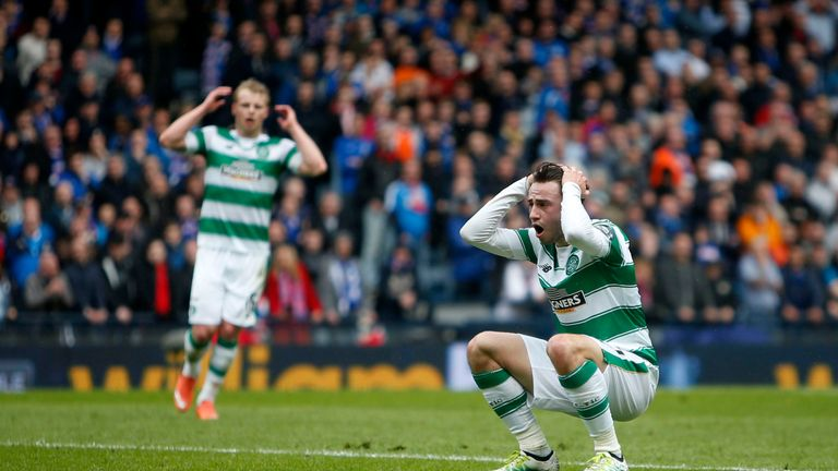 Celtic's Patrick Roberts reacts after missing an open goal