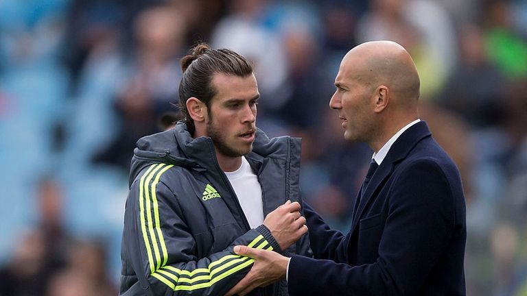 Real boss Zinedine Zidane (right) would not confirm if Gareth Bale would start in the Champions League final against Juventus