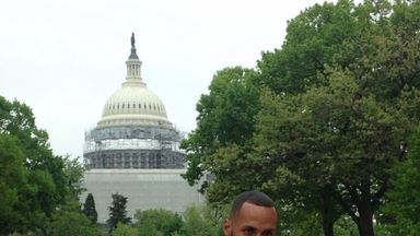 James DeGale poses in front of Capitol Hill