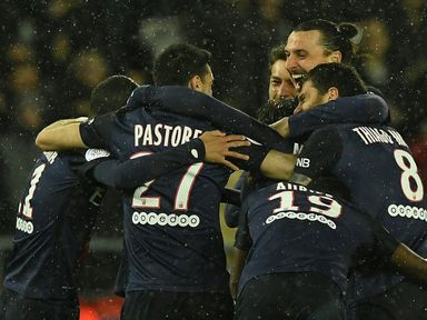 PSG players mob Maxwell after his opening goal