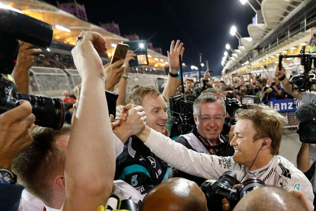 Mercedes driver Nico Rosberg celebrates winning the Bahrain Grand Prix