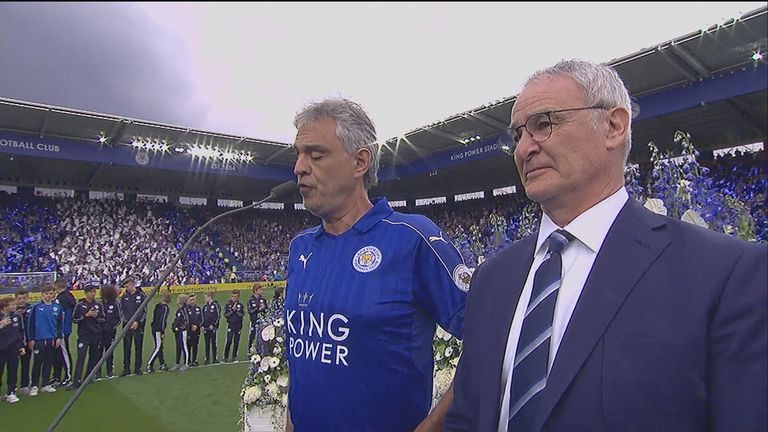 Opera star Andrea Bocelli serenaded Leicester in their final home game