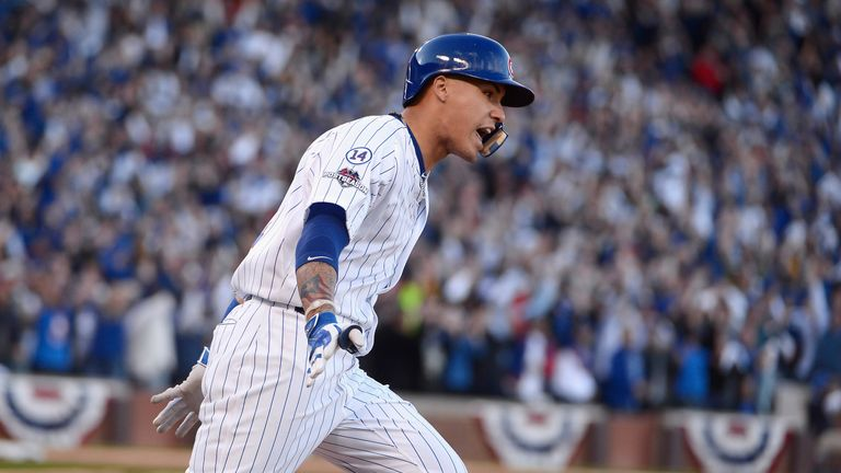 Javier Baez #9 in action for the Chicago Cubs