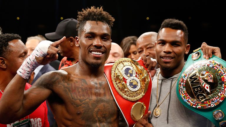 WBC super welterweight champion Jermell Charlo (R) with his twin brother Jermall