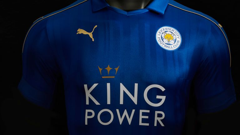 Leicester's new home kit has the gold trim of champions (image c/o Leicester City)