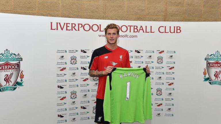 Loris Karius being presented by Liverpool