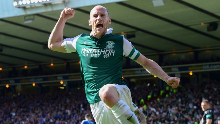 Hibernian's David Gray celebrates scoring the winning goal in the final last May