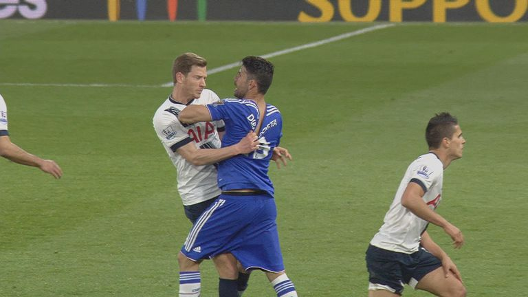 Jan Vertonghen and Diego Costa clash