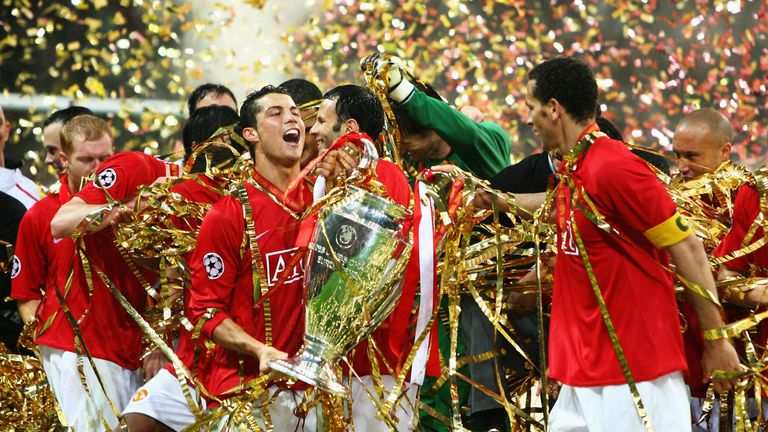Ronaldo won the Champions League with United in 2008, as well as three Premier League titles