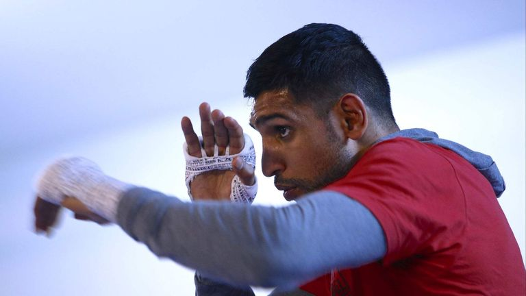 Amir Khan in training ahead of his WBC Middleweight Title challenge against Saul 'Canelo' Alvarez