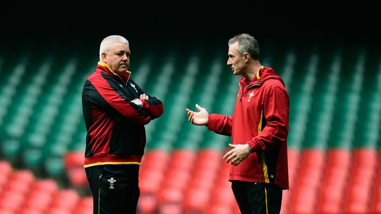 Rob Howley (R) is Wales interim head coach as Warren Gatland  prepares for next summer's Lions tour