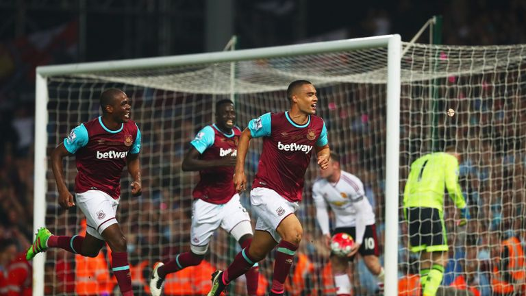 Winston Reid (right) after scoring West Ham's winner against Man Utd
