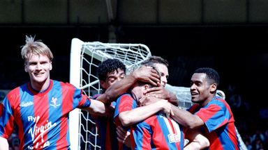 Geoff Thomas (left) and team-mates mob Alan Pardew after he scored against Liverpool to put Crystal Palace into the 1990 FA Cup final