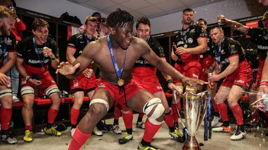 Maro Itoje leads the celebrations after Saracens' Champions Cup success