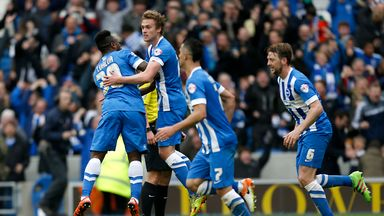 Brighton's James Wilson (second left) celebrates scoring his side's goal against Derby