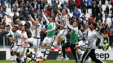 Juventus' players celebrate after beating Carpi on Sunday