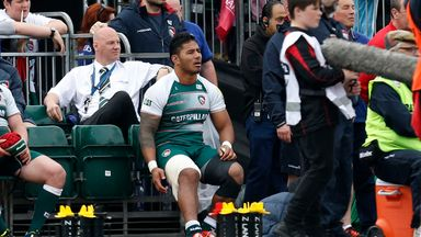 Manu Tuilagi watches from the touchline after he was injured during Leicester's defeat to Saracens