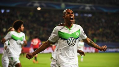 Naldo celebrates scoring for Wolfsburg in their Champions League clash with Manchester United earlier this season
