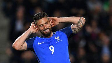 Olivier Giroud celebrates his hat-trick against Paraguay