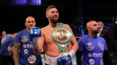 Bellew celebrates his WBC world cruisersweight title triumph - Image by Lawrence Lustig