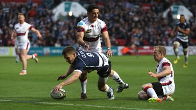 Will Cliff of Bristol dives over for a try against Doncaster