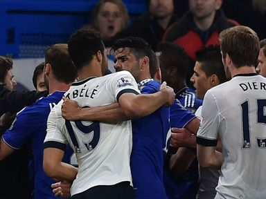 Tottenham's Belgian midfielder Mousa Dembele (left) clashed with Diego Costa