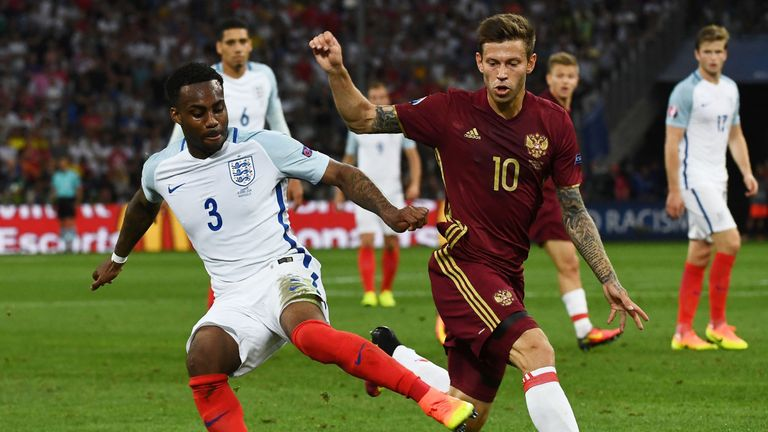 Danny Rose battles for the ball as England drew 1-1 with Russia in Marseille